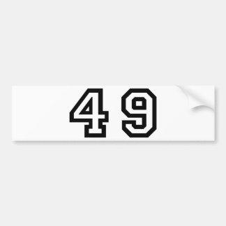 Number Forty Nine Car Bumper Sticker