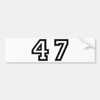 Number Forty Seven Car Bumper Sticker