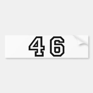 Number Forty Six Car Bumper Sticker