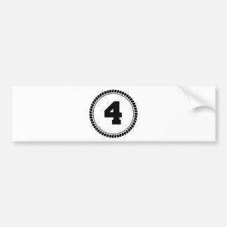 Number Four Circle Bumper Sticker
