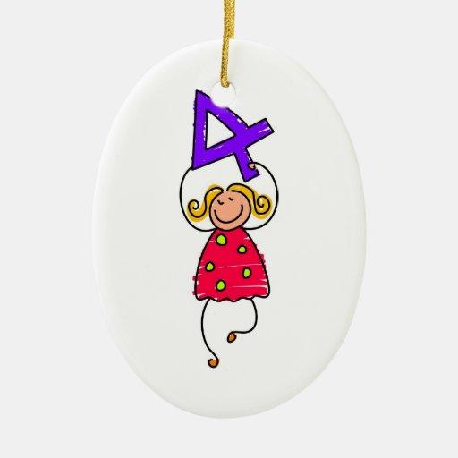 Number Four Kid Ceramic Ornament