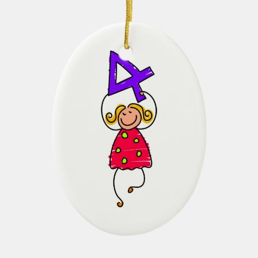 Number Four Kid Christmas Ornaments