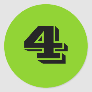Number Four Large Round Green Stickers by Janz