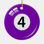 Number four pool ball ornament - double sided