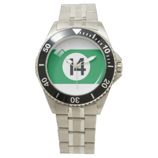 Number fourteen pool / billiard ball wrist watches