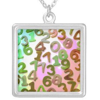 Number Jumble Square Pendant Necklace