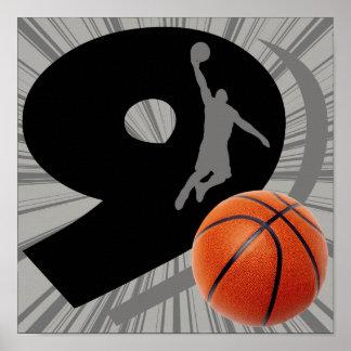 Number Nine Basketball and Player Poster