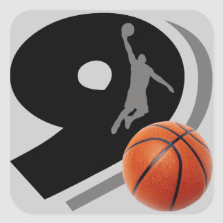 Number Nine Basketball and Player Square Sticker