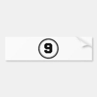 Number Nine Circle Bumper Sticker