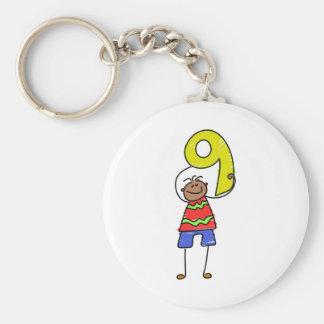 Number Nine Kid Basic Round Button Keychain