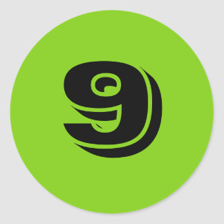 Number Nine Large Round Green Stickers by Janz