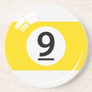 Number nine pool ball sandstone coaster