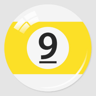Number nine pool ball stickers/labels classic round sticker