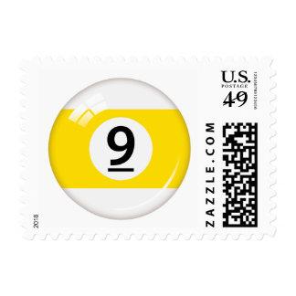 Number nine pool or billiard ball postage stamp