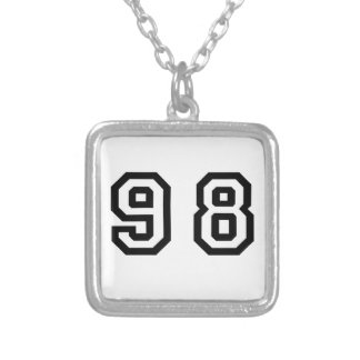 Number Ninety Eight Square Pendant Necklace