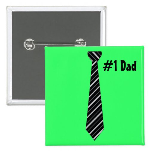 Number One #1 Dad Black Stripes Fake Tie 2 Inch Square Button