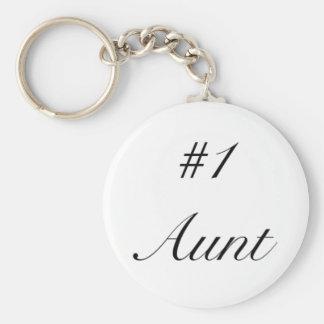 number one aunt basic round button keychain