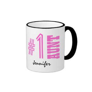 Number One AUNT Custom Name Gift Collection Pink 1 Ringer Coffee Mug