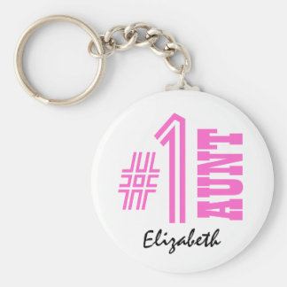 Number One AUNT Custom Name Gift Collection Pink Basic Round Button Keychain