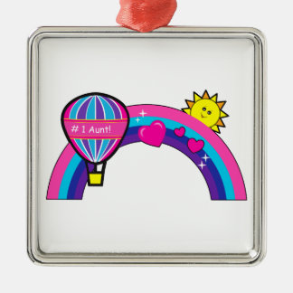 Number One Aunt with Balloon and Rainbow Metal Ornament