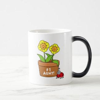 Number One Aunt with Flowers and Ladybug Magic Mug