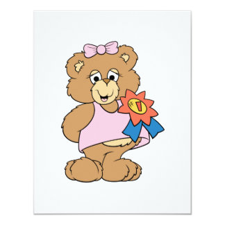 Number One Award Girl Bear Card