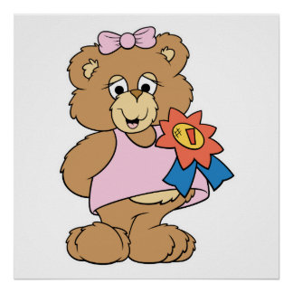 Number One Award Girl Bear Poster