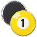 Number one billiard ball fridge magnet