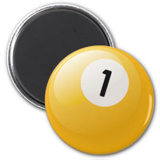 NUMBER ONE BILLIARDS BALL 2 INCH ROUND MAGNET