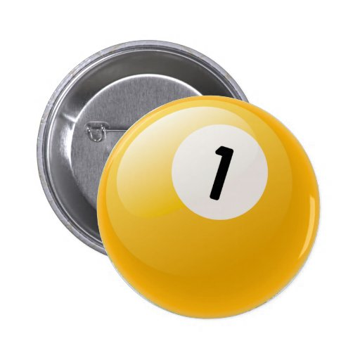 NUMBER ONE BILLIARDS BALL PINBACK BUTTONS