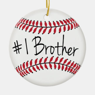 Number One Brother with Baseball Ceramic Ornament