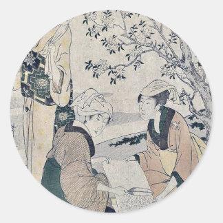 Number one by Kitagawa, Utamaro Ukiyoe Classic Round Sticker