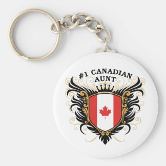 Number One Canadian Aunt Basic Round Button Keychain