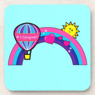 Number One Caregiver with Balloon and Rainbow Coaster