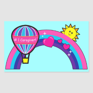 Number One Caregiver with Balloon and Rainbow Rectangular Sticker