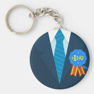 Number one dad blue badge tie suit father's day keychain