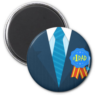 Number one dad blue badge tie suit father's day magnet