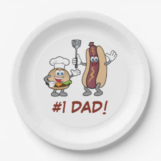 Number One Dad Cheeseburger and Hot Dog Cook-Out Paper Plate