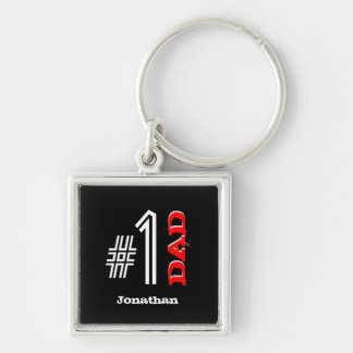 Number One DAD Custom Name Black Red White V02A Keychain