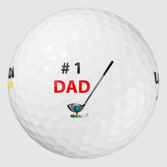 Number One Dad Fathers Day Birthday Cool Golf Balls