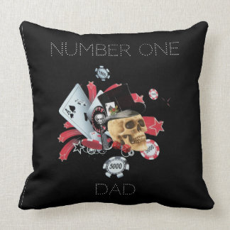 Number One dad gambling casino Throw Pillow