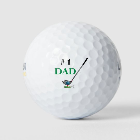 Number One Dad Golf Fathers Day Birthday Cool Balls
