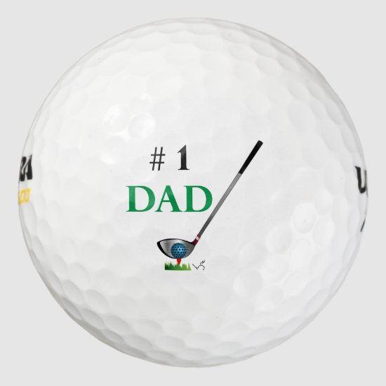 Number One Dad Golf Fathers Day Birthday Cool Golf Balls