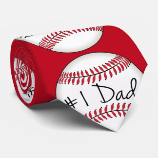 Number One Dad on Baseball Neck Tie