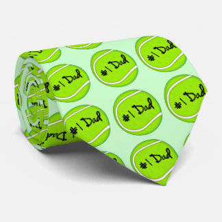 Number One Dad on Tennis Ball Neck Tie