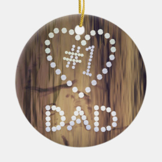 Number One Dad on Wood-look Background Ceramic Ornament