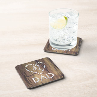 Number One Dad on Wood-look Background Drink Coaster