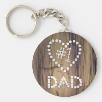 Number One Dad on Wood-look Background Keychain