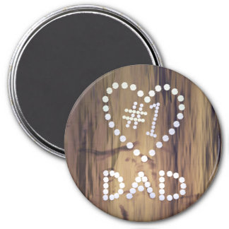 Number One Dad on Wood-look Background Magnet