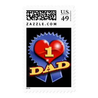 Number One Dad Postage Stamps